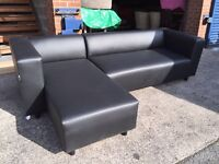 Black Leather Corner Sofa Left hand corner chaise sofa delivery available
