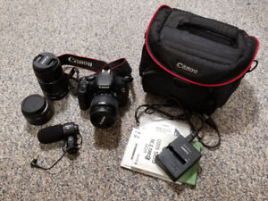 Canon Rebel T3i Camera with Extra Lenses and Microphone