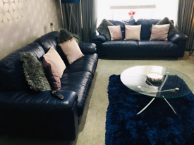 2x 3 Seater Navy Leather Couch Good Condition 🛋✨