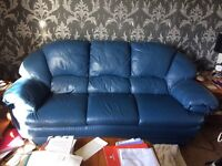 Blue Leather 3 Piece Suite