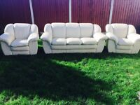 Leather Italian 3 piece suite. Free delivery