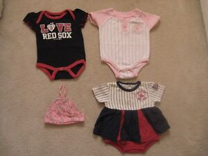 Boston Red Sox Baby Girl Clothing Lot (4 Items)