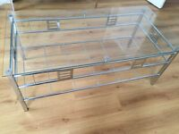 Chrome Ixion Coffe table 120x60x47cm, glass top, new