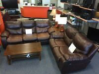 Ashley sofa love recliner set with single Elran recliner chair
