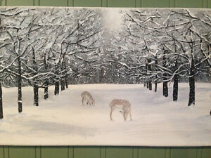 Deer and Snow - Canvas Art