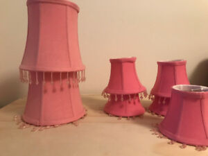 5 Beaded Pink Lampshades, Various Sizes