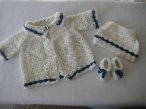 Crochet Set Baby Coat/Hat/Bootees, Sweater Set, Newborn to 3 mon