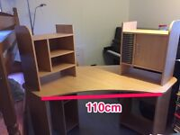 Corner desk with storage areas above and below 2 AVAILABLE**