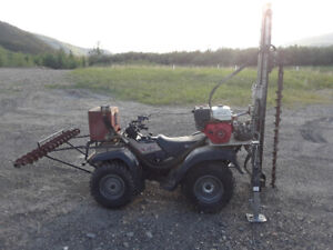 4 inch geotechnical drill mounted on a quad