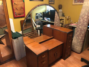 Antique make up table. Great shape with beveled mirror.
