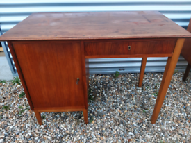 Vintage retro Danish wooden teak 60s office work desk mid century