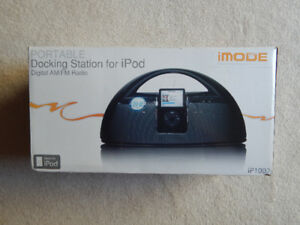 iMODE PORTABLE DOCKING STATION FOR iPOD AND DIGITAL AM/FM RADIO