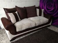 New Fabric 3 Seater Sofa Chocolate Brown and Mink with Scatter Cushions