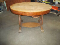 Oval Empire Table, Scroll Feet  Drawer In Skirt, Golden Oak Colo