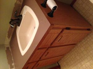 Bathroom Vanity, Sink, Medicine Cabinet, and toilet