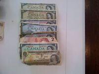 Old Canadian Bills, Silver Dollars, Foreign Bills and Coins