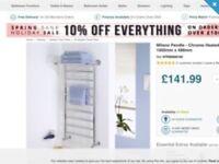 Designer Bathroom Towel Radiator with shelf brand new in box