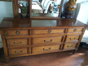 Vintage Mid-Century All Solid Wood Dresser– 9 Drawers & Mirror