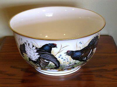 """Ltd Franklin Porcelain 1981 Hunting """"THE GAME BIRD BOWL"""" by BASIL EDE Gold Trim"""
