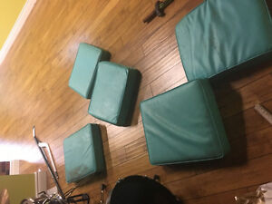 Vinyl turquoise cushions fm booth seating