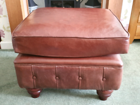 Large Brown Leather Pouffe / Foot Stool