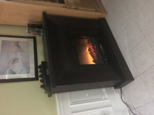 Brown electric fireplace with mantel