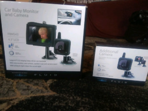 Car baby monitor and camera with additional camera