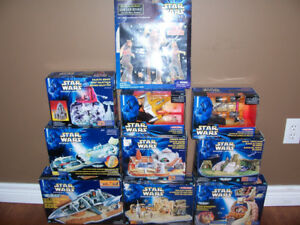 Lot of Star Wars Micro Machine Sets and 2 12 Inch Figures