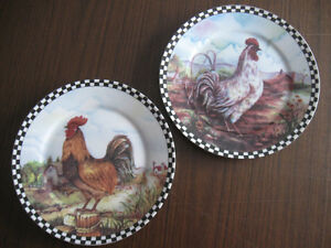 2 Decorative Rooster Plates