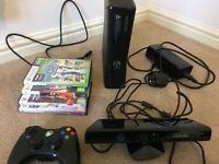 X BOX 360 250gb with KINECT motion sensor and GAMES