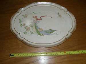 Vintage hand-painted wood / wooden serving tray