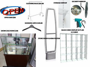 STORE FIXTURES: GLASS DISPLAYS, MIRRORS, HANGERS  226-224-0355
