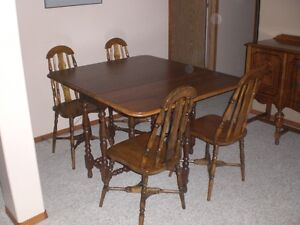 Antique drop leaf table and four chair