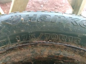 175/70R13 winter studded tires on rims