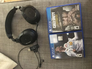 PlayStation 4 games and headset