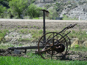 Antique horse drawn mower yard lawn decoration