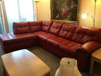 red laminated Leather Couch *Brand New*
