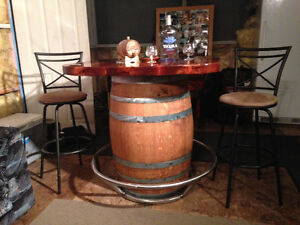 Oak Barrel Bar Table