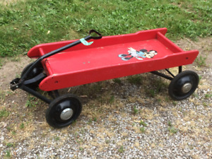 WOOD WAGON CHILDRENS WERLICH VINTAGE MADE IN CANADA RED