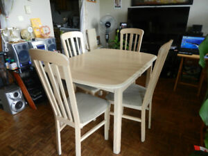 $75 for a Solid Wood Dining Table with 4 Wood Chairs