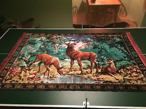 2 Vtg TAPESTRY WALL HANGINGS~ RUGS~ HUNTING CAMP~DEER~DOGS