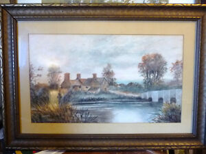 "Original Watercolor ""Village In The Country"", Carrie Walker 1935"