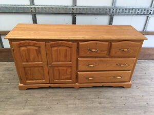 Solid Oak Dresser with Wing Mirror