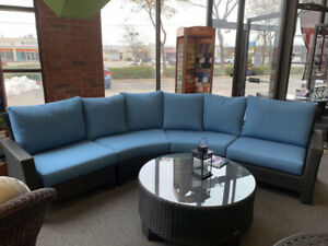 CURVED WICKER ALL WEATHER OUTDOOR SECTIONAL