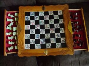 Vintage Antique Asian Chess Set Fold Jade Red Soapstone
