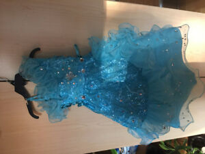 Girls - Blue Fancy Stonework Dress