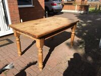 Solid pine farm dining table with draws with 4 chairs