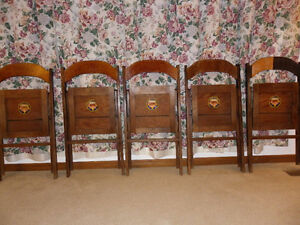 Set of 5 HOURD & Co. Ltd.London Can Wood Imperial Folding Chairs London Ontario image 3