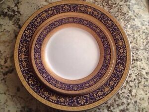 Gorgeous Fine Bone Porcelain Service For 12 With 24kt Gold