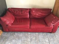 Next red leather 3 seater sofa